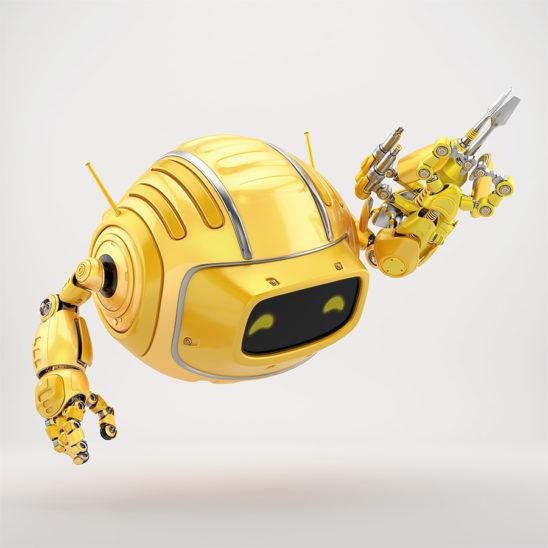 Orange aerial Cutan robotic toy with multi-tool instrument arm 3d render