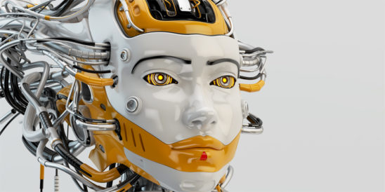 Fashionable robot geisha with orange accents and wired dreadlocks