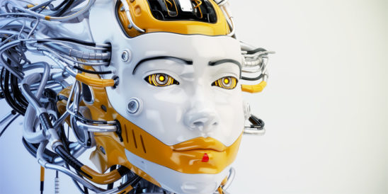 Fashionable robot geisha with orange accents and wired dreadlocks 3d render