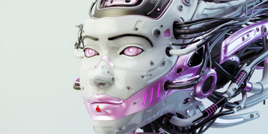 Fashionable robot geisha with pink color accents and wired dreadlocks 3d render