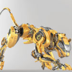 Fashionable golden robotic panther in side creeping pose, 3d render