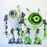 Two ufo robotic beetle friends 3d render
