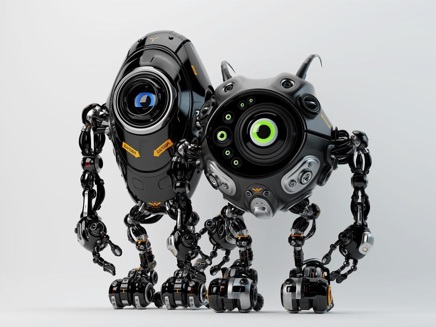 Two ufo robotic black beetle creatures - dangerous futuristic friends 3d render
