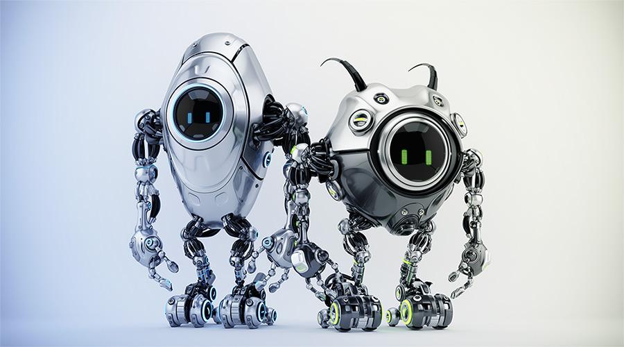 Two ufo robotic steel beetle creatures - dangerous futuristic characters, 3d render