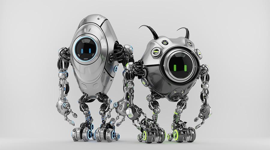 Two ufo robotic steel beetle creatures - dangerous futuristic characters 3d render