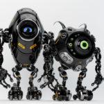 Two ufo robotic black beetle creatures – dangerous futuristic friends 3d render
