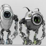 Two ufo robotic steel beetle creatures – dangerous futuristic characters, 3d render