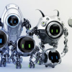 Ufo robotic steel beetle family – cute futuristic characters, 3d render. Six various, but with similar lineament, robots with digital eyes