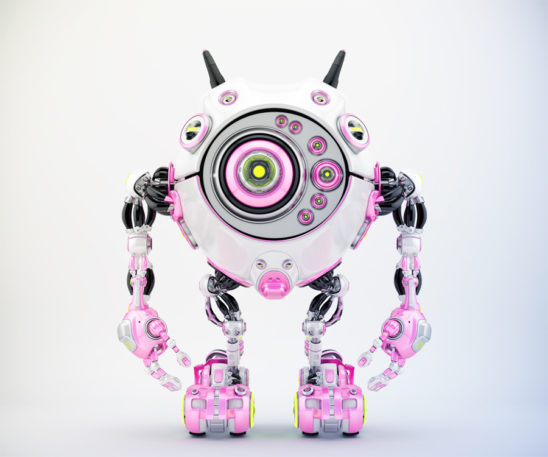 Bright pink & white robotic beetle with many eyes and funny antennaes, front angle 3d rendering