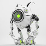 Unusual white robot beetle in front pose with cute antennaes and one big camera-eye, 3d rendering