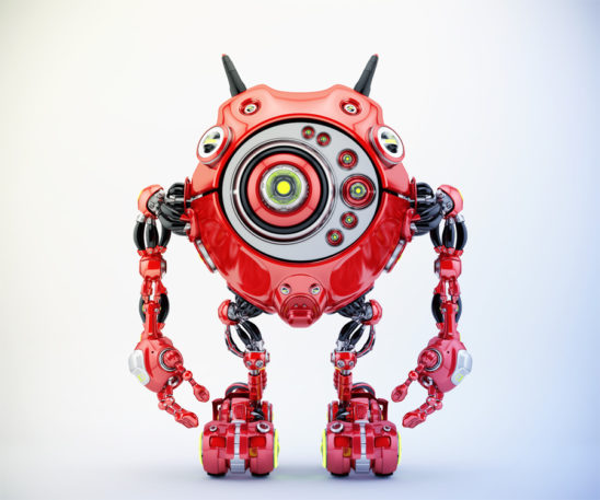 Bright red robotic beetle with many eyes and funny antennaes, front angle 3d rendering