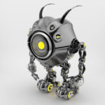 Black robotic beetle with big yellow eye and funny antennaes, side angle 3d rendering
