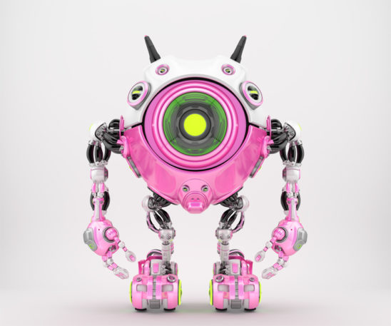 Girlish white-pink, candy robot beetle with smart antennaes and big lime camera eye, 3d rendering