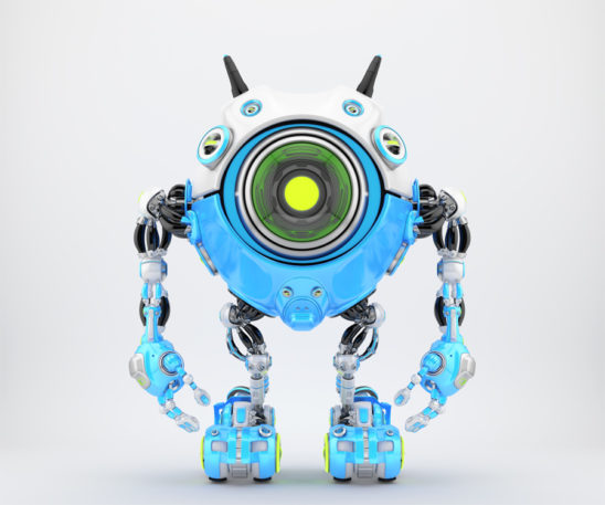 White-blue robot beetle with smart antennaes and big lime camera eye, 3d rendering