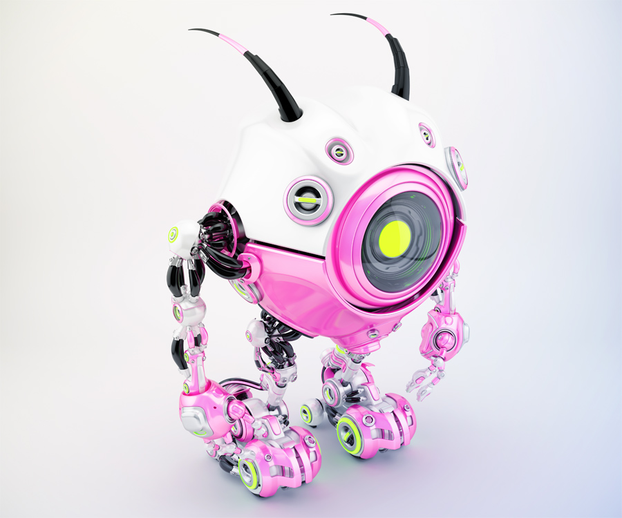 Girlish white-pink robot beetle with smart antennaes and big lime camera eye, side upper angle. 3d rendering