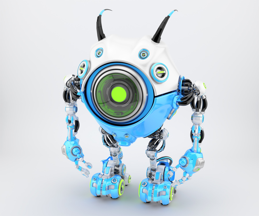 White-blue robot beetle with smart antennaes and big lime camera eye, side upper angle 3d rendering