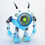 Blue-white robot beetle with smart antennaes and big lime camera eye, side upper angle 3d rendering
