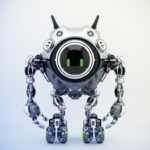Sci-fi robotic beetle with digital screen in sleek steel color with smart antennaes, 3d rendering