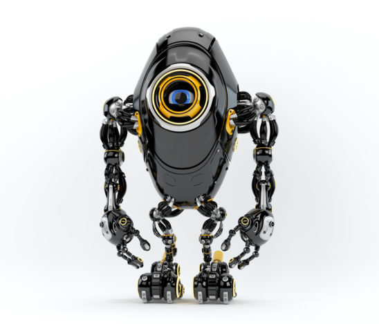 Black long ufo robot beetle with one big camera eye, 3d rendering