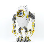 Modern white & yellow oval long robotic beetle with one big caroon eye, front pose 3d rendering