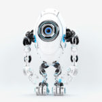 Modern white & blue oval long robotic beetle with one big caroon eye, 3d rendering