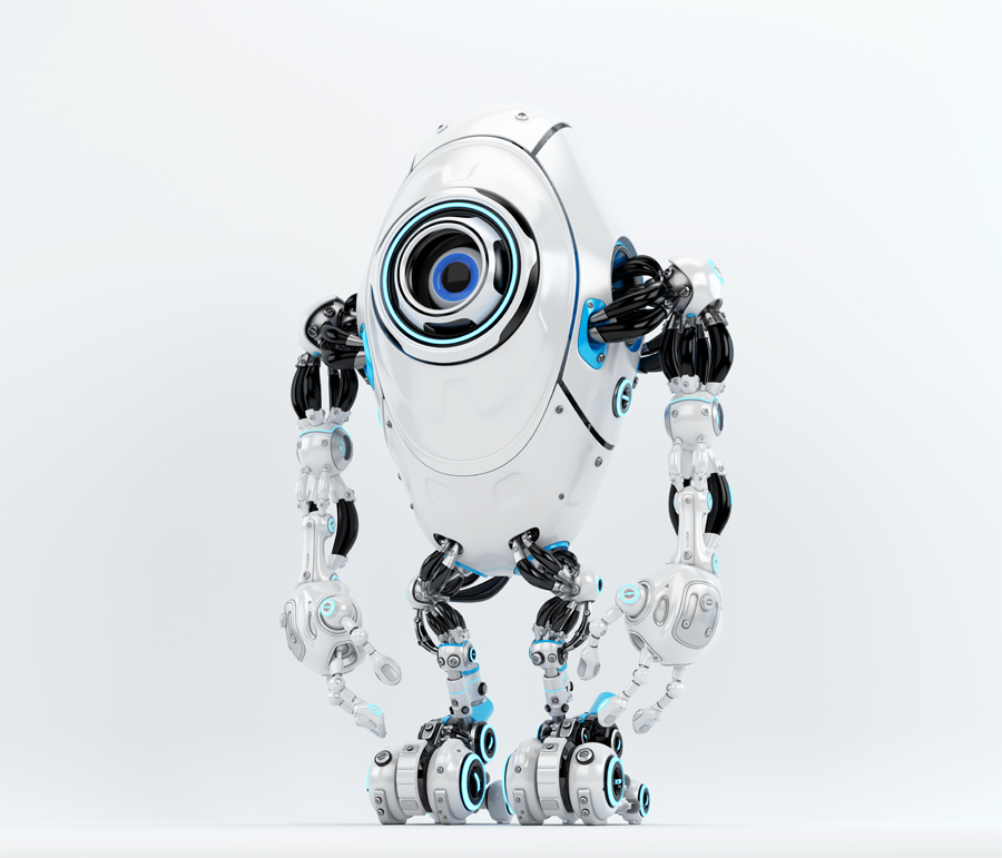 Modern white & blue oval long robotic beetle with one big caroon eye, side pose 3d rendering