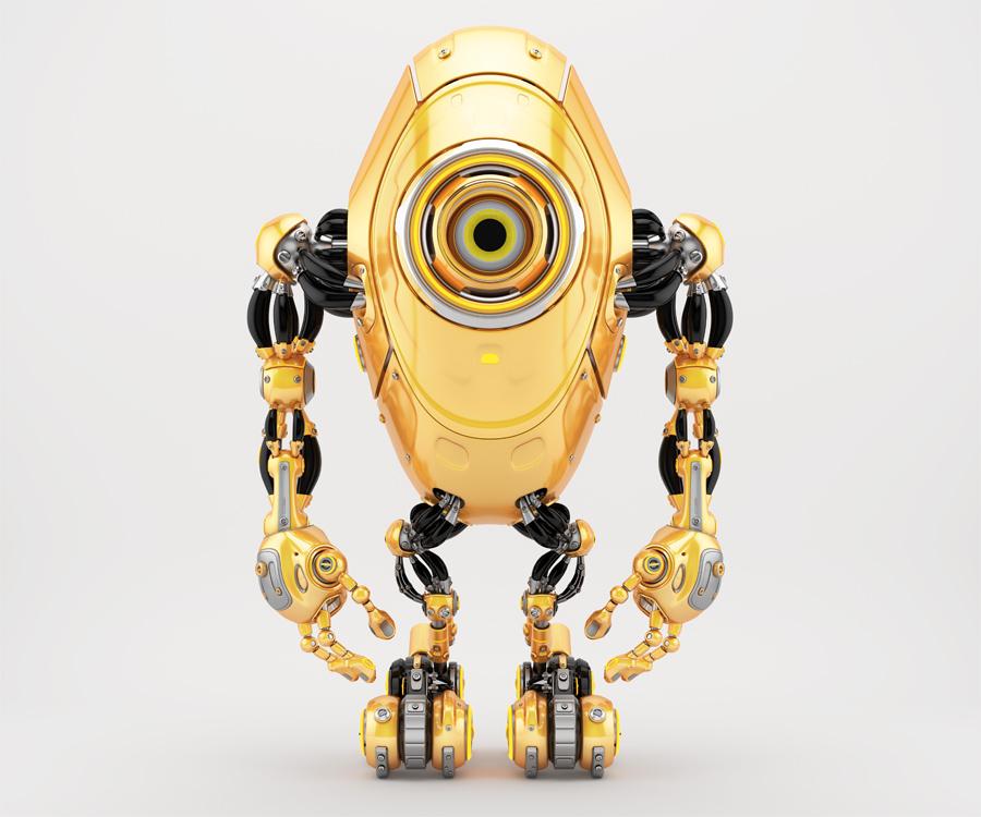 Sleek long robotic beetle with one big eye camera in frontal pose, 3d rendering