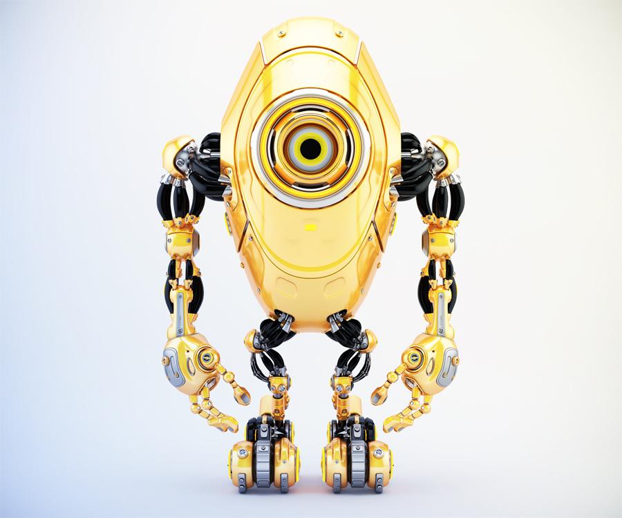 Sleek long orange robotic beetle with one big eye camera in frontal pose, 3d rendering
