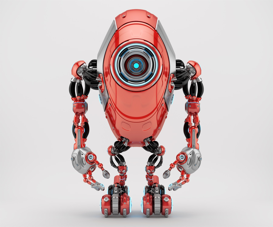 Innovative red long robot beetle - ufo character in front pose 3d rendering