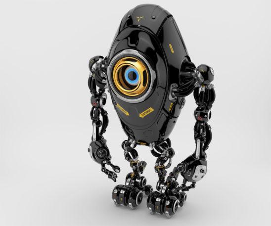 Black long ufo robot beetle with one big camera eye & danger signs, upper side 3d rendering