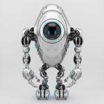 Sci-fi slim robotic beetle with digital screen in sleek steel color, front angle 3d rendering