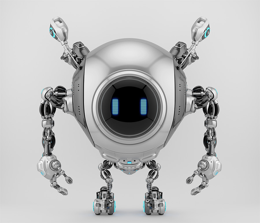 Robstr - cute robotic creature with multifunctional antennaes in sleek steel color