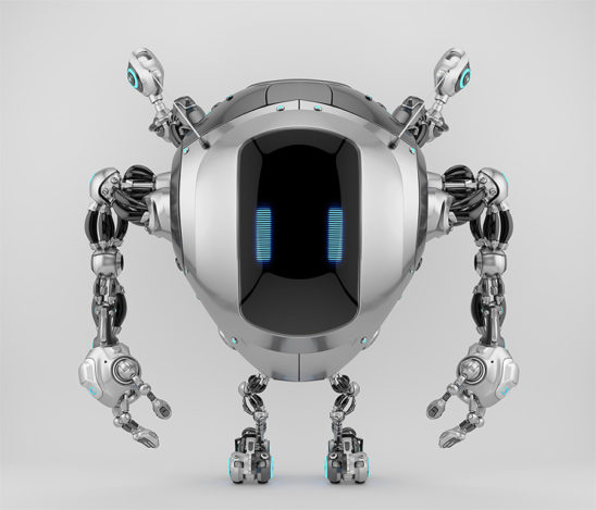 Robstr – cute robotic creature with multifunctional antennaes in sleek steel color, 3d rendering