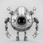 Robstr – egg-like robotic creature with digital eyes on round screen & multifunctional antennaes in sleek steel color, 3d rendering