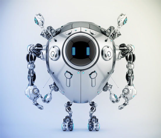 Robstr – egg-like robotic creature with digital eyes on round screen & multifunctional antennaes in sleek steel color, 3d rendering