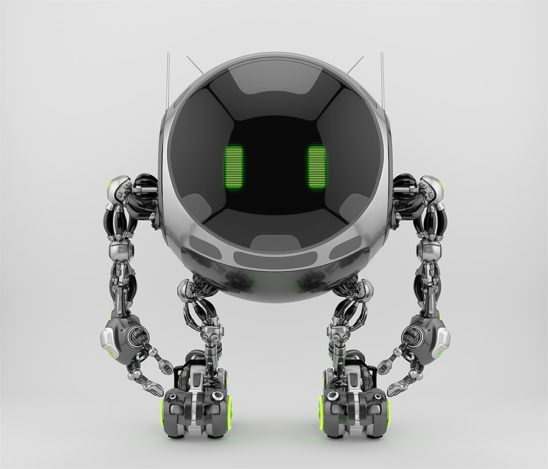 Turbot - robotic ufo character with big circle digital face and lovely green eyes. 3d rendering