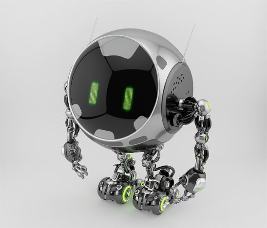 Turbot - robotic ufo character with big circle digital face and lovely green eyes. Side angle 3d rendering