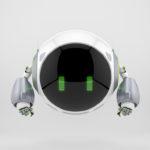 Sleek white-grey turbot aerial character, 3d rendering