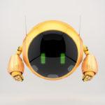 Bright orange aerial turbot character with digital green eyes, 3d rendering