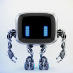 Extraordinary TV bot with antennaes and blue digital eyes, 3d rendering