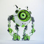Ufo beetle-like robot in juicy green and white colors with cute antennaes, 3d render
