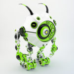 Bright green & white robotic beetle with many eyes and funny antennaes, side angle 3d rendering