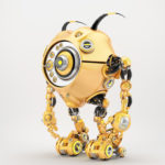 Bright orange robotic beetle with many eyes and funny antennaes, side angle 3d rendering