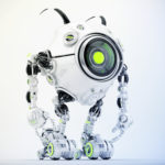 Unusual white robot beetle in front pose with cute antennaes and one big camera-eye, side angle 3d rendering
