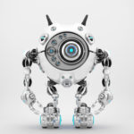 Bright white robotic beetle with many eyes and funny antennaes, front angle 3d rendering