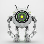 Metal robotic beetle with big lime eye and funny antennaes, front angle 3d rendering
