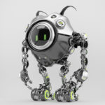 Sci-fi robotic beetle with digital screen in sleek steel color with smart antennaes, side angle 3d rendering