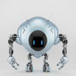 Pearl blue robot fox with digital screen