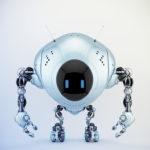 Pearl blue robot fox with digital screen, 3d illustration