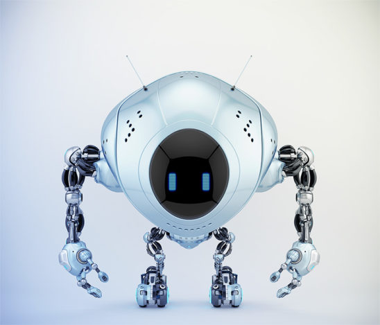 Pearl blue robot fox with digital screen, 3d illustration